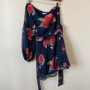 Lovers + Friends Navy Blue Floral One Sleeve Dress